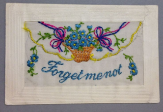 Forget me not WW1 silk postcard