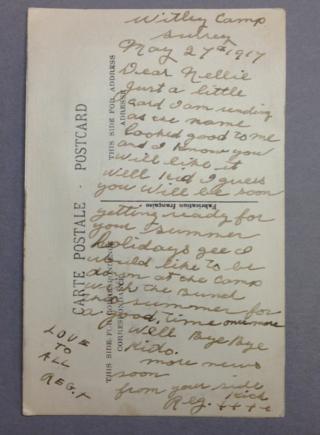 Nellie WWI silk postcard blue diagonal overlay backside